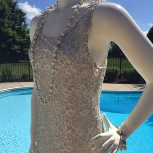Gorgeous Lg silver gold cream glitter lace dress
