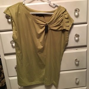 NWT, large olive green top w/ fabric detail