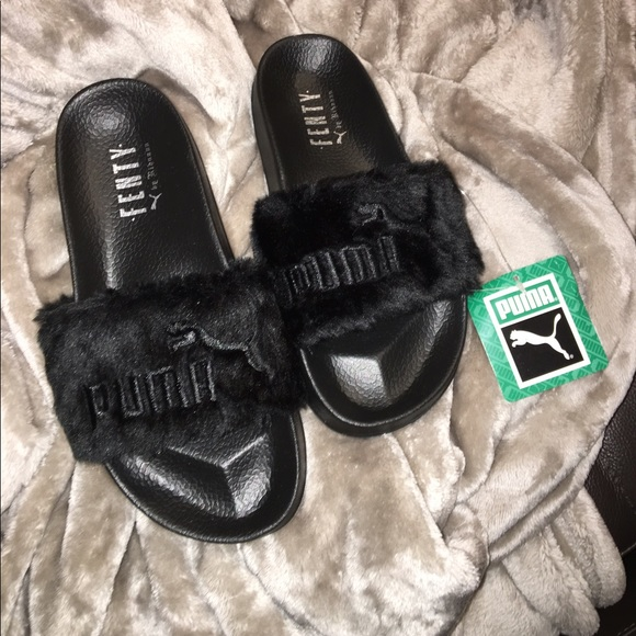 Rihanna FENTY x Puma Fur Slides Slippers Black 6 e65977590