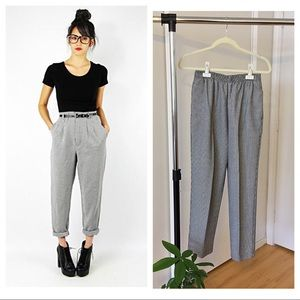 Vintage Pants - Cropped B&W High Waisted Trousers