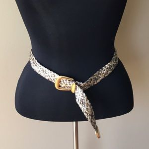 Vintage Accessories - Vintage Gold Silver & Bronze Braided Belt Medium