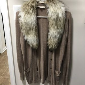 Ann Taylor loft removable faux fur cardigan
