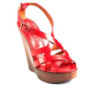 Burberry Shoes - Red Burberry Sandals (Bridle Delamer 120 Wedge)