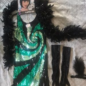 Charades Other - Charades Sequin Flapper Dress and Accessories M