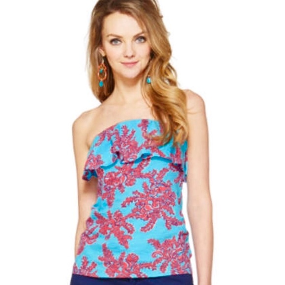 b67d58ce8c Lilly Pulitzer Tops - Lilly Pulitzer Wiley Ruffle Tube Top