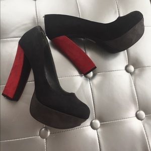 Shoes - Faux suede red black and grey chunky heel