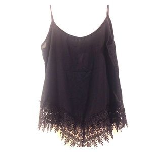 Tops - On trend sheer black cami with lace detail