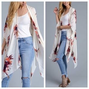 October Love Other - Free shipping! Cream floral Kimono