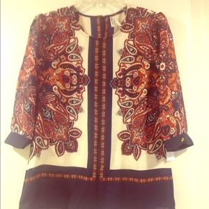 Tops - Navy  and white  print blouse