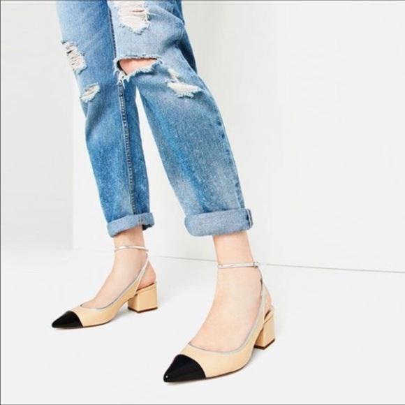 6821558264 Zara Shoes | Nwt Contrast Cap Toe Block Heel Slingbacks | Poshmark