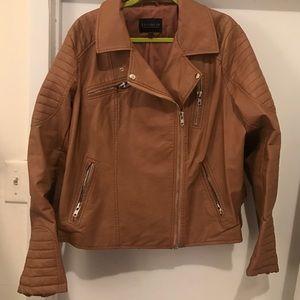 Brown leather eloquii jacket