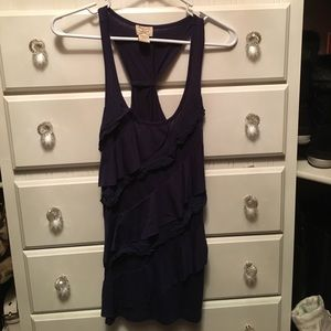 Dark blue ruffle tank by Eyelah Couture.
