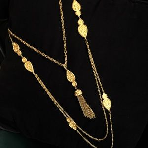 Inspired layered tassel necklace