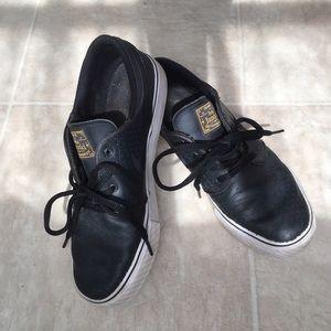 Nike Janoski Black Perforated Leather Skate Shoes