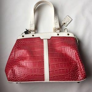 Buxton manmade leather satchel fucsia/white