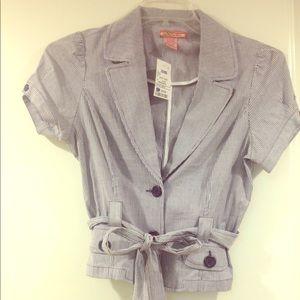 Tops - Striped cropped blazer w/waist belt