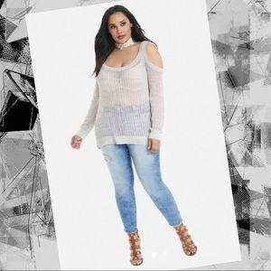 Fashion to Figure Tops - NWOT Cold Shoulder Light Sweater 😘