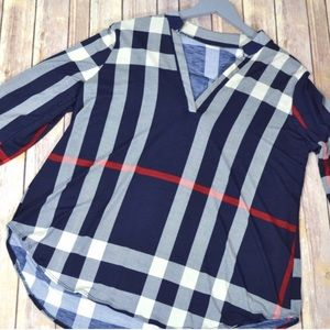 Kyoot Klothing Tops - Plus Size Navy Checker Top