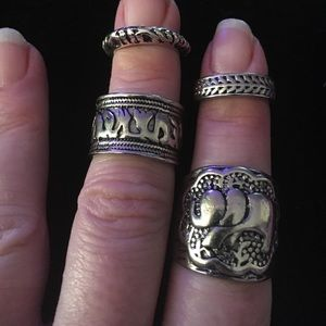 Jewelry - Vintage Punk Carved 🐘 Totem Leaf Lucky Rings