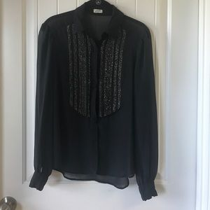 L'AGENCE Tops - Black Sheer top with gold heading