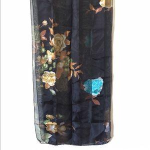 Black flora chiffon vintage scarf.