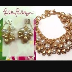 NWT LILLY PULITZER GOLD BRACELET + EARRINGS!