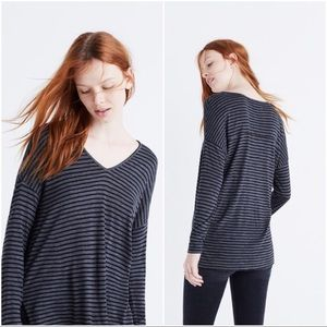Madewell Anthem v-neck long sleeve tee in stripe