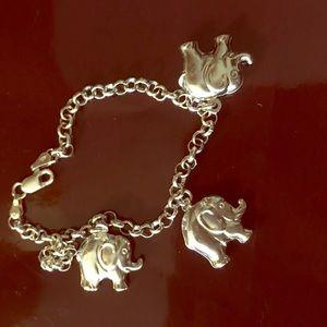 925 Sterling Silver Elephants Bracelet