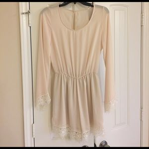 sage Dresses & Skirts - Long sleeve cream with white lace romper
