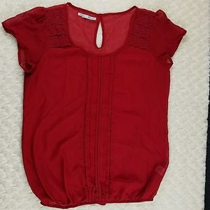 Womens Maurices Red Sheer Blouse Size Large