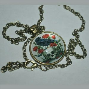 Jewelry - Raven Skull Dome Necklace 
