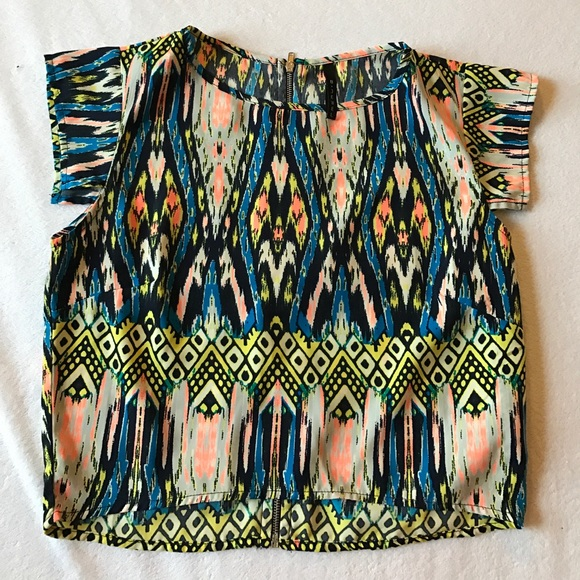 B Jewel Tops - B Jewel color splash crop top with zipper back.