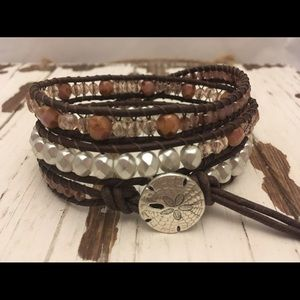Jewelry - Sand dollar 3 Times leather wrap bracelet.