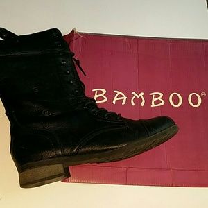 bamboo  Shoes - Black combat boot