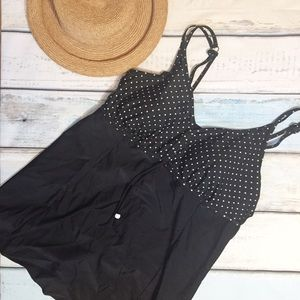 Penningtons Other - Black & White Polka Dot Plus Size Swim Dress