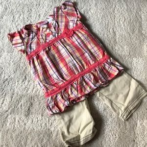 Other - 🌺NWOT🌺Young Hearts Plaid Top & Beige Pants