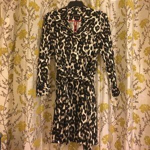 NWT Dana Bachman leopard print trench coat.