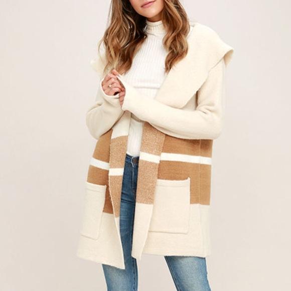 32% off Lulu's Sweaters - CARLSBAD TAN AND BEIGE HOODED CARDIGAN ...