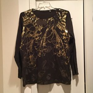 Tahari Woman Tops - Ladies 2x brown with gold embellished cotton tee