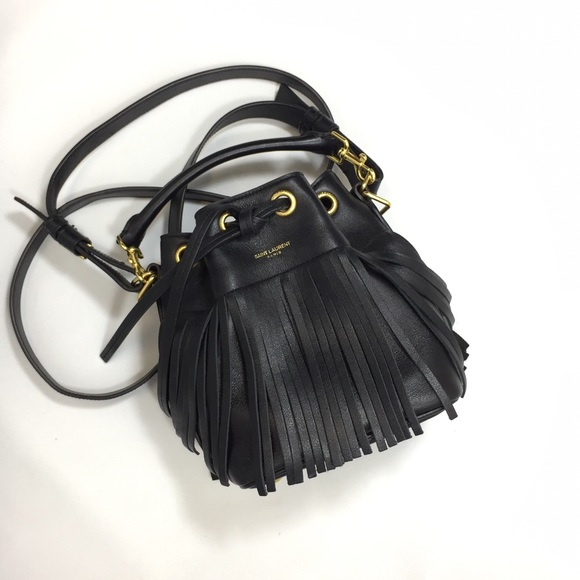 df760f563aa Saint Laurent Bags | Nwt Real Ysl Fringe Emmanuelle Leather Bucket ...