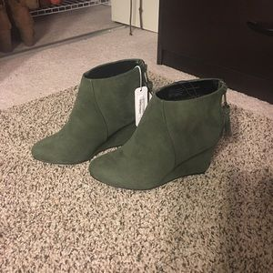 Charming Charlie Shoes - NEVER WORN army green booties