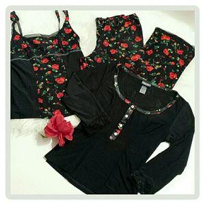 "Bisou Bisou Other - Three Piece ""Roses"" Pajama set"