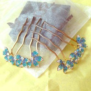 Blue Crystal Hair Comb