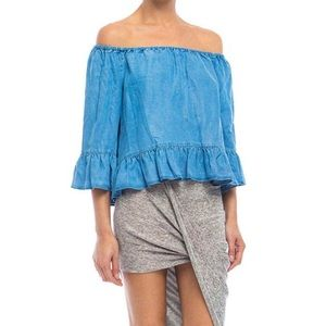 Walter Baker Tops - NWT Walter Baker ruffled denim top