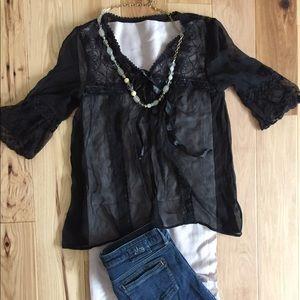 Sheer black 3/4 sleeve lacy top