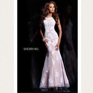 Sherri Hill Dresses & Skirts - Sherri Hill nude and white lace mermaid prom dress