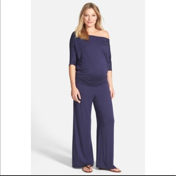 Purple Maternity Jumpsuit