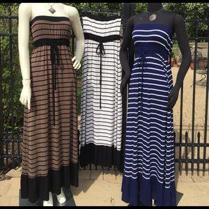Blue & white cotton strapless maxi dress ruffle