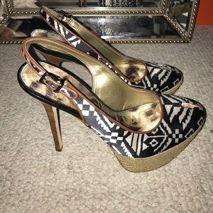 San Edelman Aztec print heels