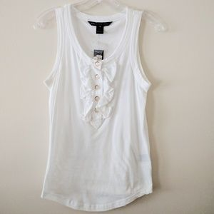 Marc Jacobs Tops - Marc Jacobs white ruffle tank